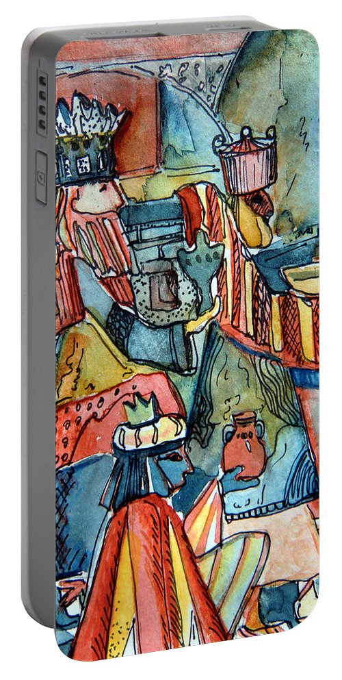Wise Portable Battery Charger featuring the painting Three Wise Men by Mindy Newman