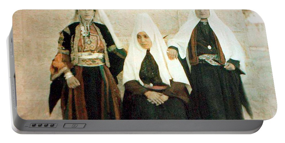 Bethlehem Portable Battery Charger featuring the painting Three Women by Munir Alawi