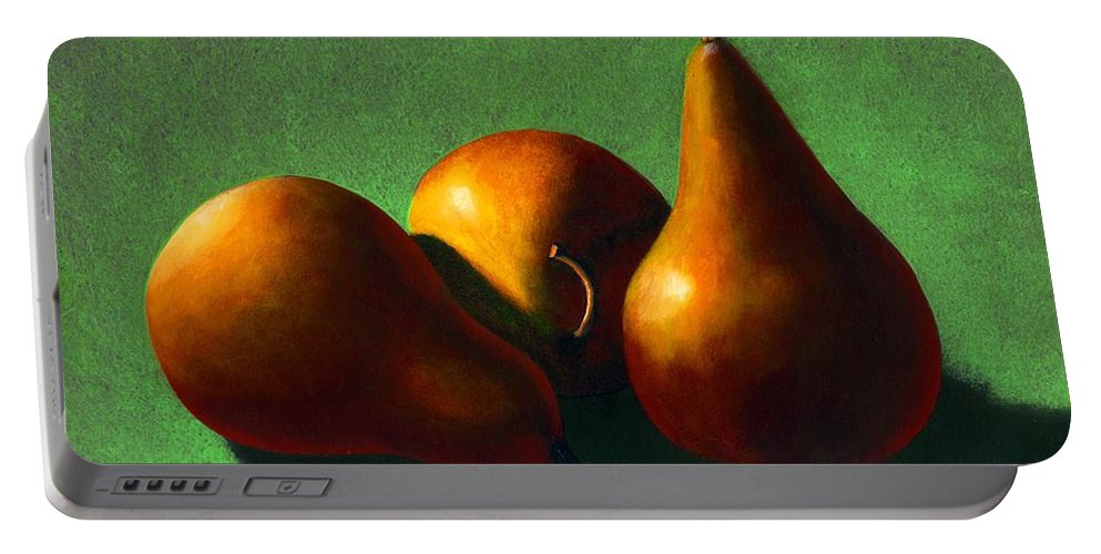 Still Life Portable Battery Charger featuring the painting Three Yellow Pears by Frank Wilson
