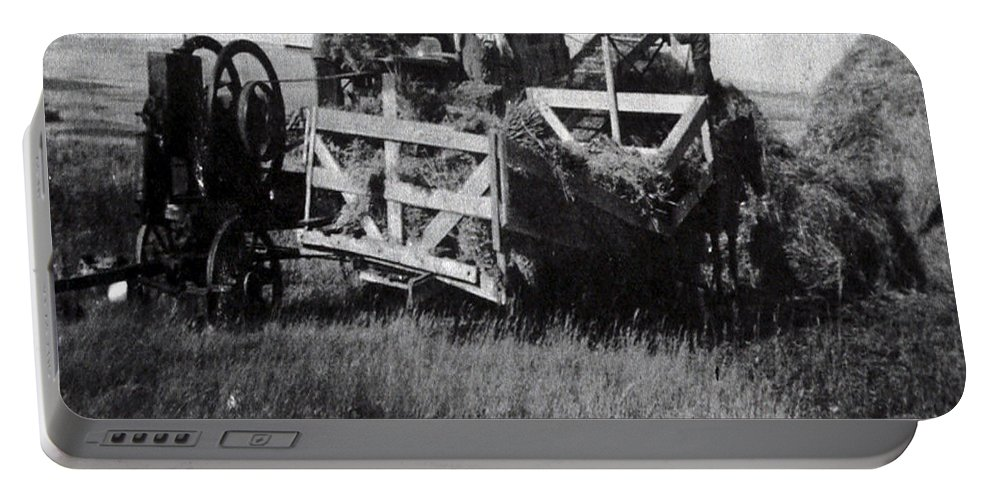 Old Photo Black And White Classic Saskatchewan Pioneers History Thresher Farming Portable Battery Charger featuring the photograph Threshing Day by Andrea Lawrence