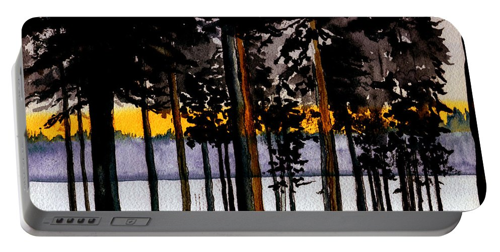 Watercolor Portable Battery Charger featuring the painting Through My Woods by Brenda Owen