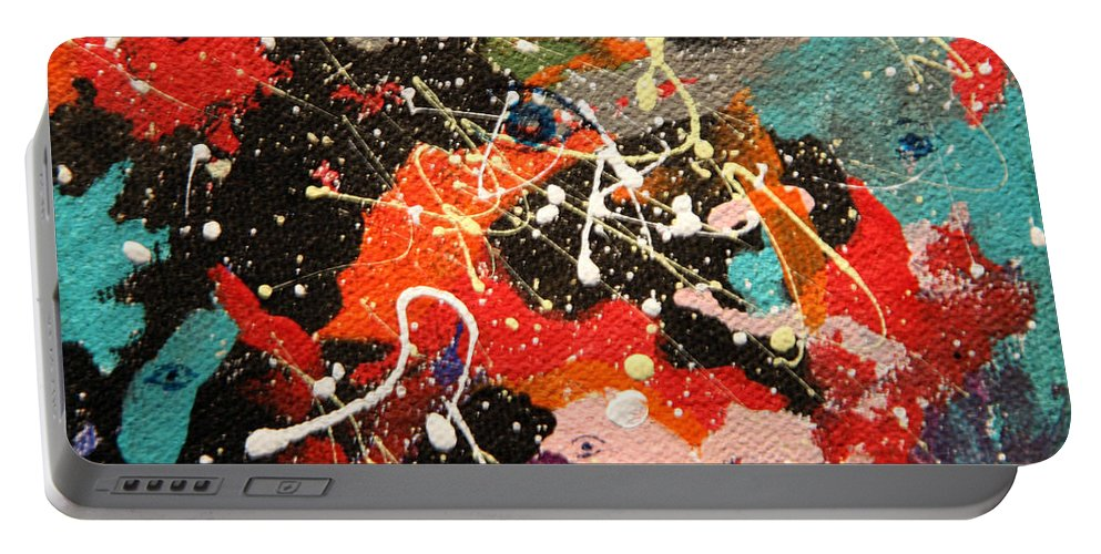 Abstract Portable Battery Charger featuring the mixed media Through The Eyes Of The Universe by J R Seymour