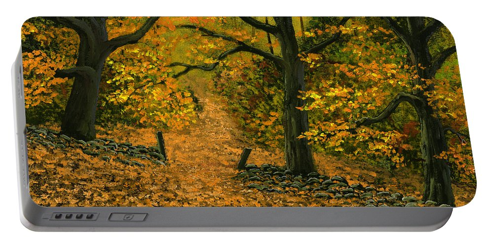 Landscape Portable Battery Charger featuring the painting Through The Fallen Leaves by Frank Wilson