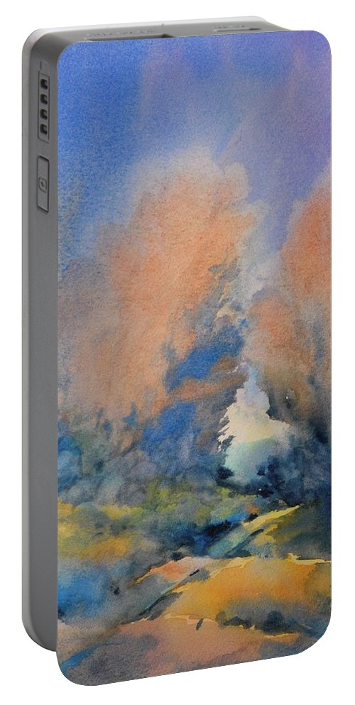 Watercolor Portable Battery Charger featuring the painting Through The Hole In The Trees by Virgil Carter