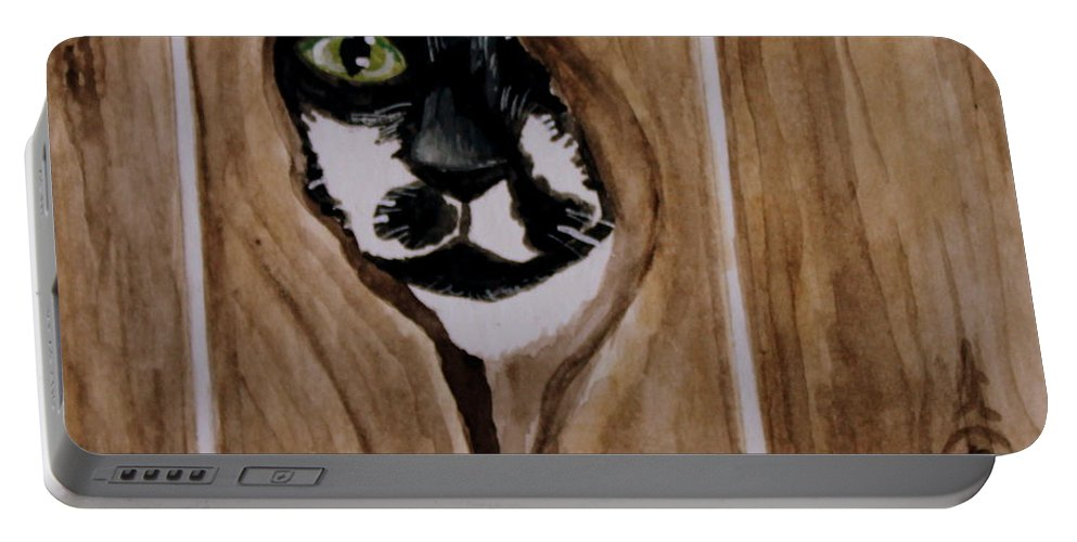 Cats Portable Battery Charger featuring the painting Through The Knothole by Elizabeth Robinette Tyndall