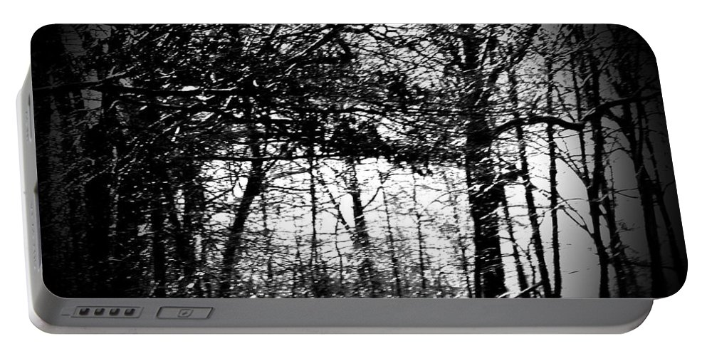 Trees Portable Battery Charger featuring the photograph Through The Lens- Black And White by Charleen Treasures