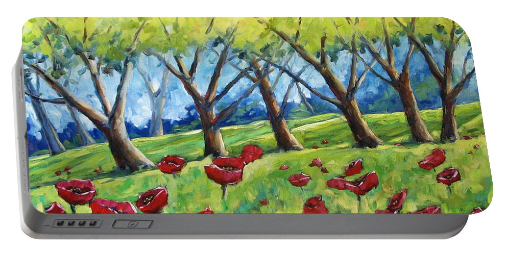 Landscape Portable Battery Charger featuring the painting Through The Meadows by Richard T Pranke
