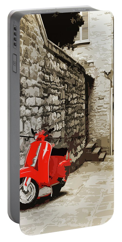 Piaggio Portable Battery Charger featuring the painting Through The Streets Of Italy - 01 by Andrea Mazzocchetti