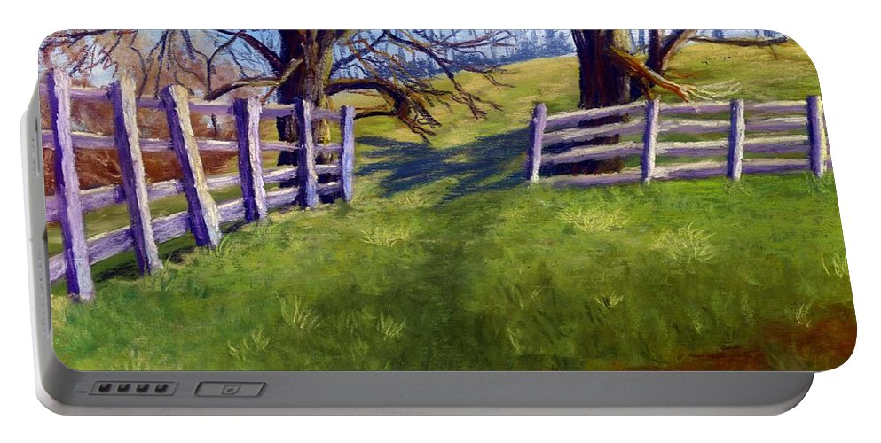 Pasture Portable Battery Charger featuring the painting Throught The Pasture Gate by Sharon E Allen