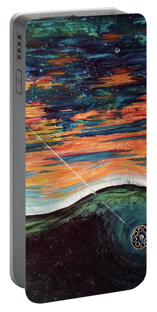 Abstract Sky Ocean Lake Fishing Lure Portable Battery Charger featuring the painting Thrown Right Through by Beth Waltz