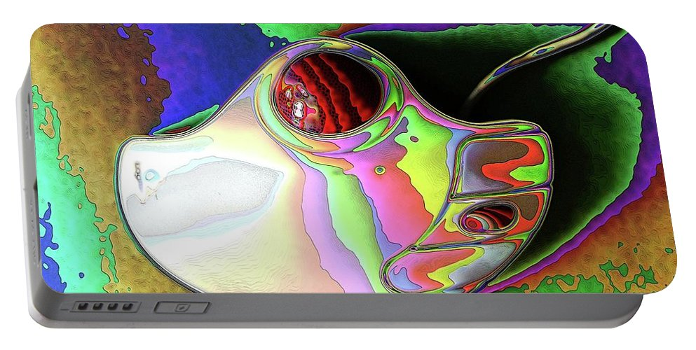 Abstract Portable Battery Charger featuring the digital art Thumb Mouse by Ron Bissett