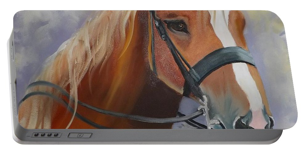 Horse Portable Battery Charger featuring the painting Thunder by Mariam Bakhsheshe