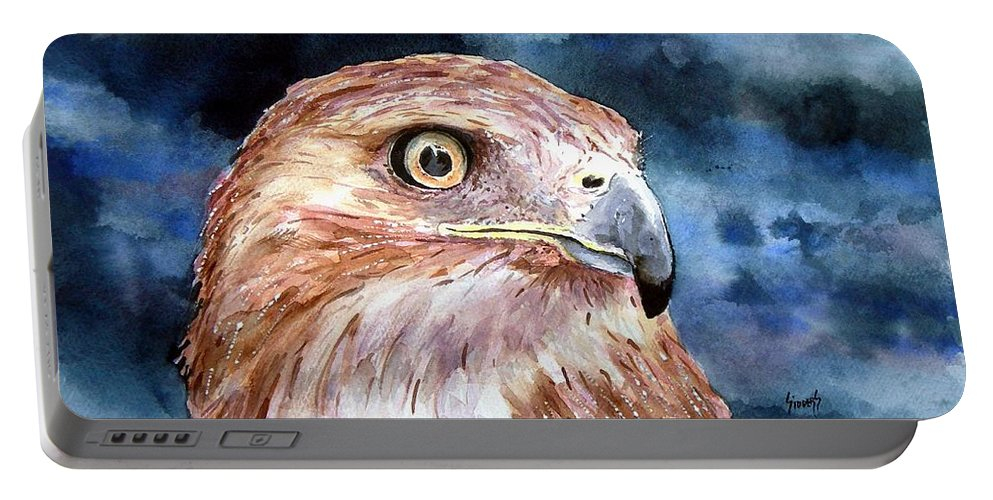 Bird Portable Battery Charger featuring the painting Thunder by Sam Sidders