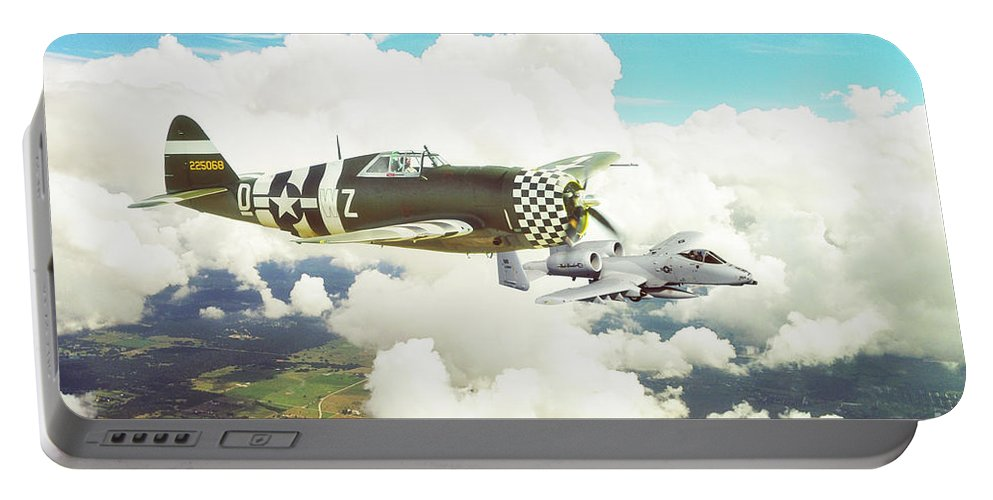 P47 Portable Battery Charger featuring the digital art Thunderbolts by J Biggadike