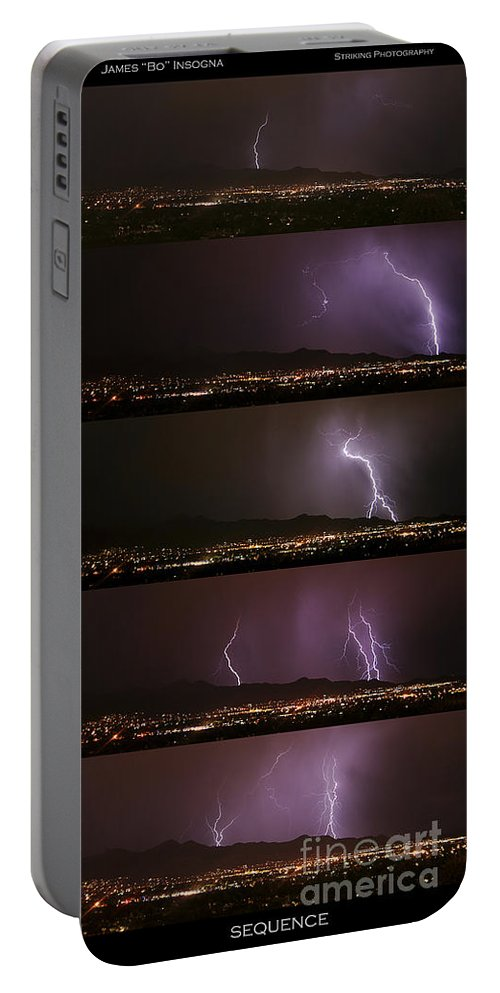 Lightning Portable Battery Charger featuring the photograph Thunderstorm Sequence by James BO Insogna