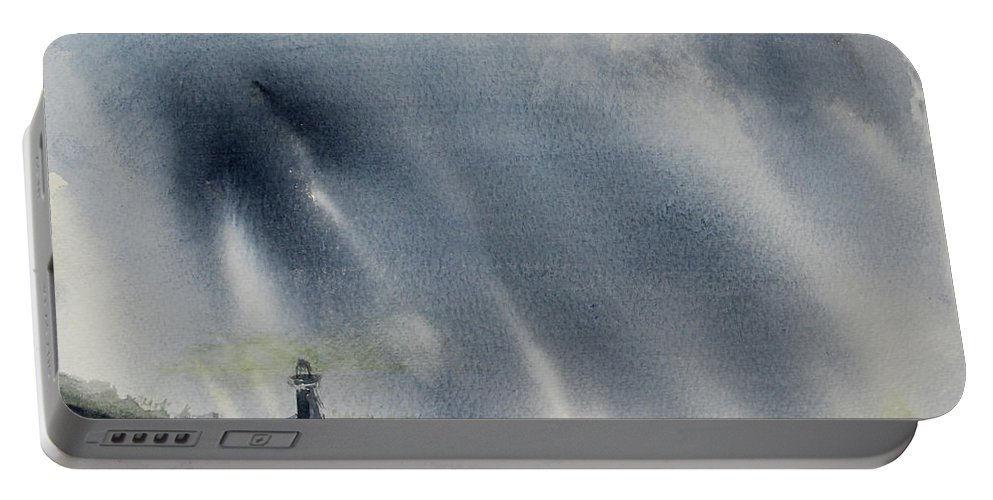 Lighthouse Portable Battery Charger featuring the painting Thursday Night Storm by Stephen Parulski