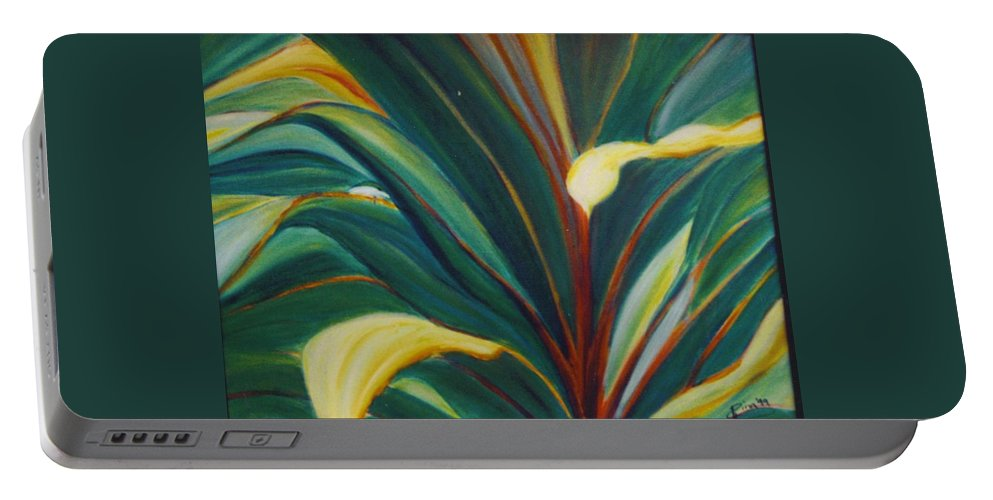 Foliage Portable Battery Charger featuring the painting Ti Leaves Too by Dina Holland