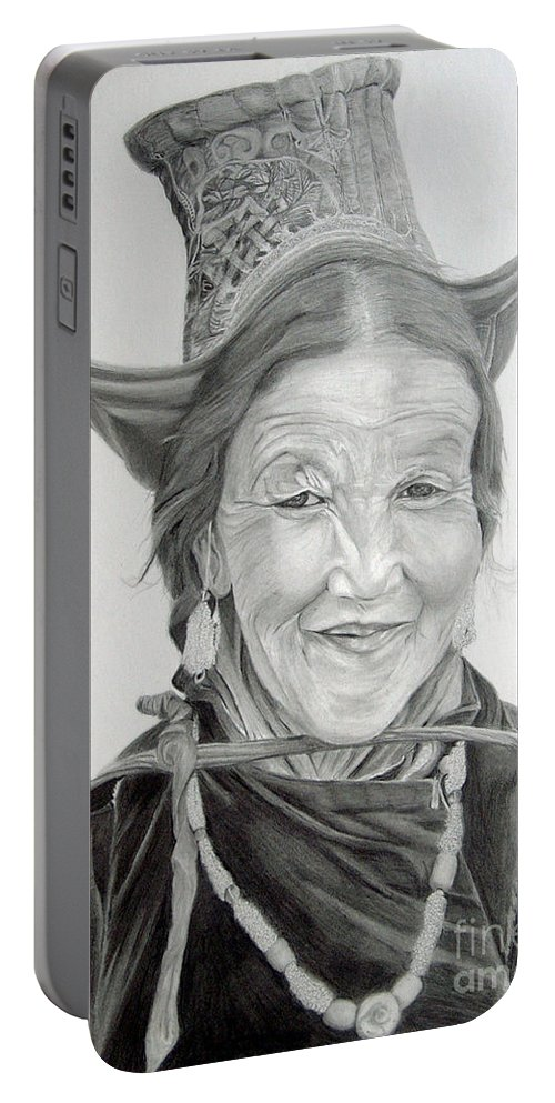 Figurative Art Portable Battery Charger featuring the drawing Tibetan Delight by Portraits By NC
