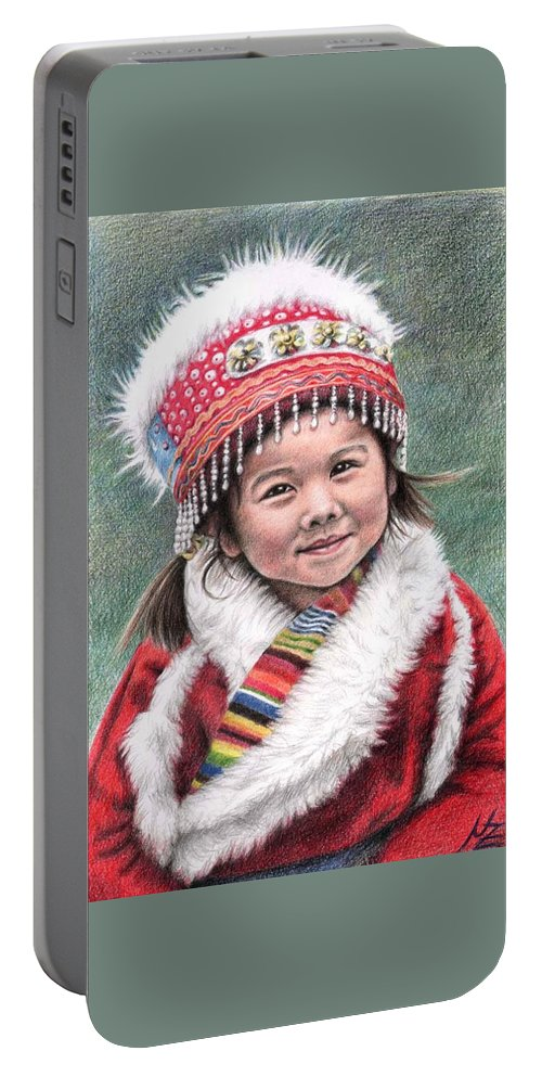 Girl Portable Battery Charger featuring the drawing Tibetan Girl by Nicole Zeug