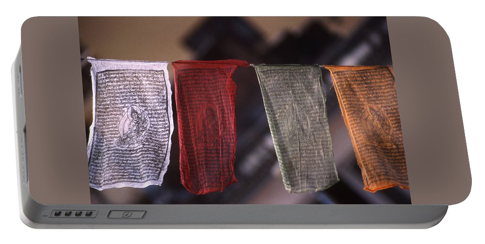 Prayer Flag Portable Battery Charger featuring the photograph Tibetan Prayer Flags by Patrick Klauss