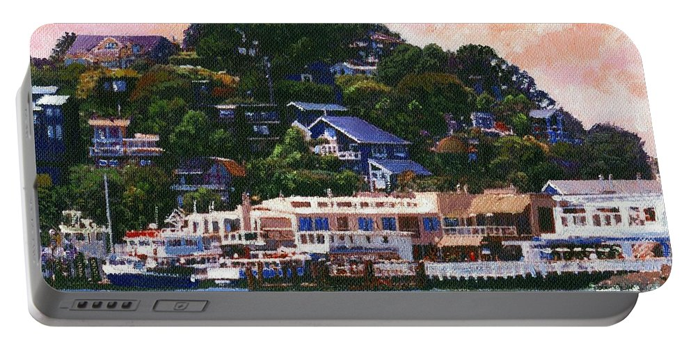 Landscape Portable Battery Charger featuring the painting Tiburon California Waterfront by Frank Wilson