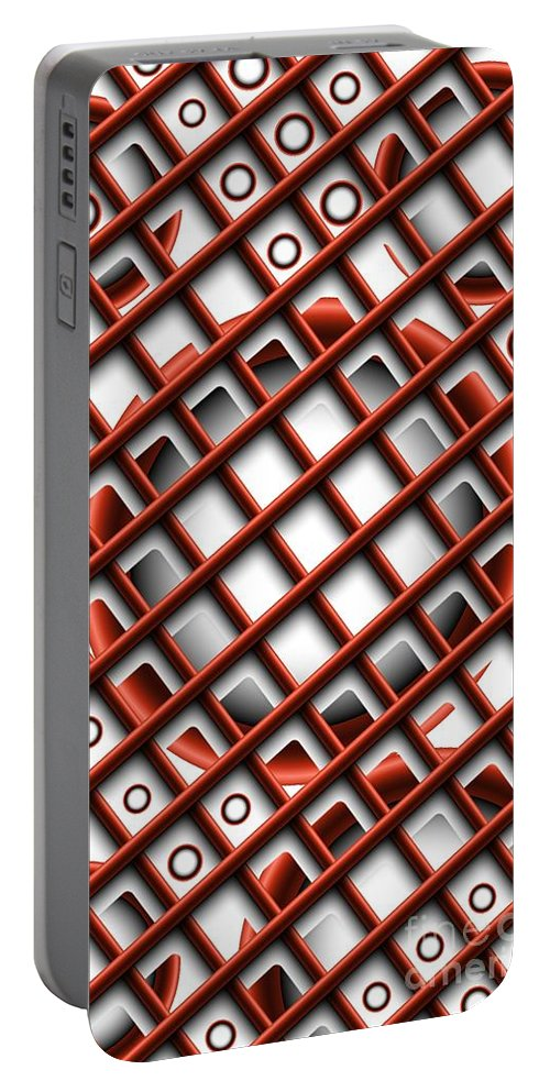 Abstract Portable Battery Charger featuring the digital art Tic Tac Toe by Ron Bissett
