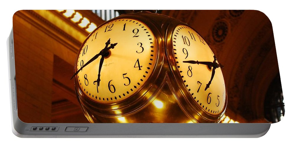Clock Portable Battery Charger featuring the photograph Tick Tock by Stefa Charczenko