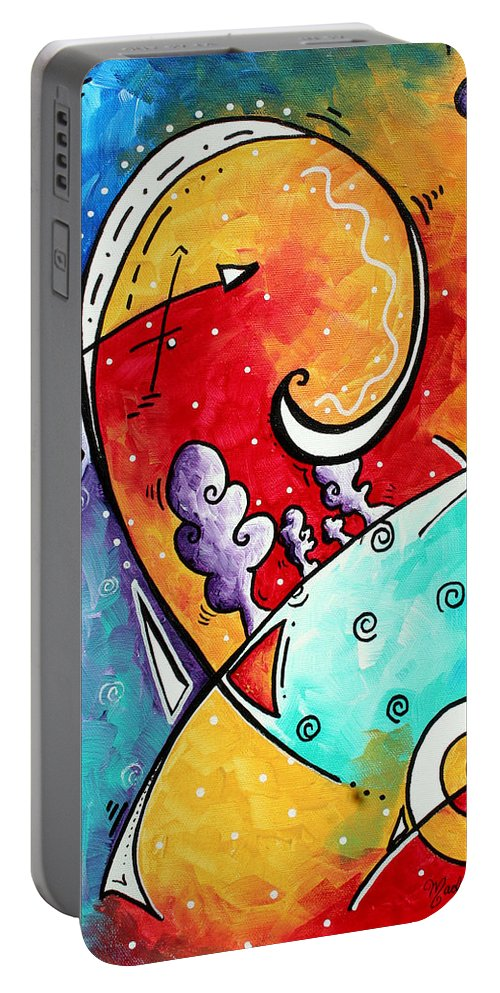 Original Portable Battery Charger featuring the painting Tickle My Fancy Original Whimsical Painting by Megan Duncanson