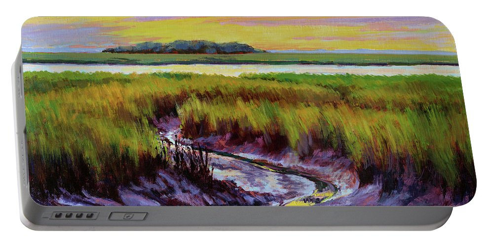Impressionism Portable Battery Charger featuring the painting Tidal Stream by Keith Burgess