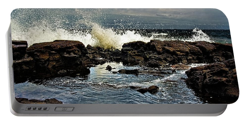 Waves Portable Battery Charger featuring the photograph Tide Coming In by Christopher Holmes