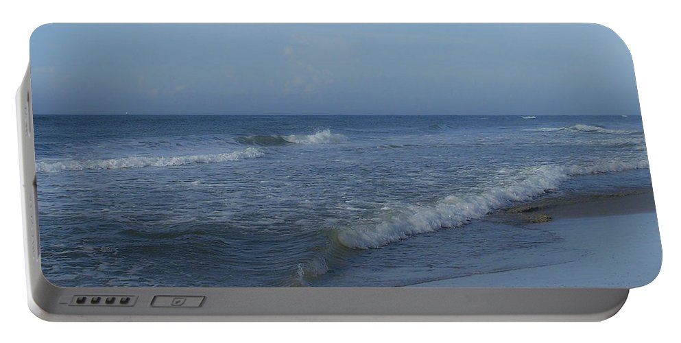 Tide Portable Battery Charger featuring the photograph Tide Rolling In Ocean Isle Beach North Carolina by Teresa Mucha