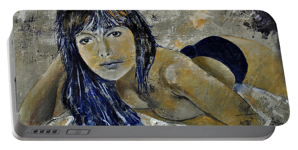 Girl Portable Battery Charger featuring the painting Tiffany 45 by Pol Ledent