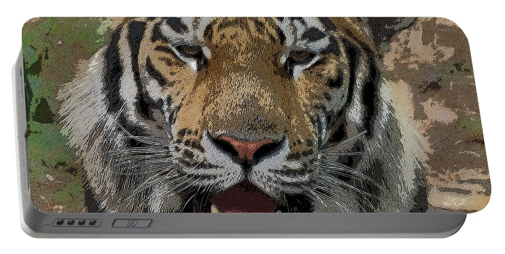 Tiger Portable Battery Charger featuring the photograph Tiger Abstract by Ernie Echols