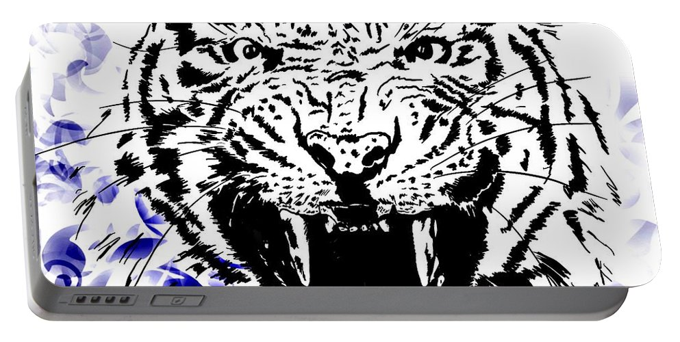 Digital Photograph Portable Battery Charger featuring the digital art Tiger And Paisley by Laurie Pike