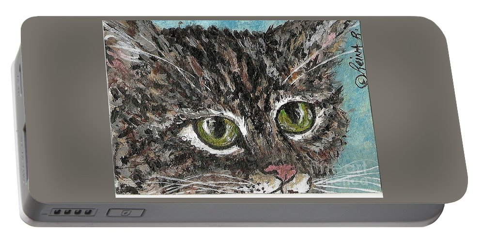 Cats Portable Battery Charger featuring the painting Tiger Cat by Reina Resto