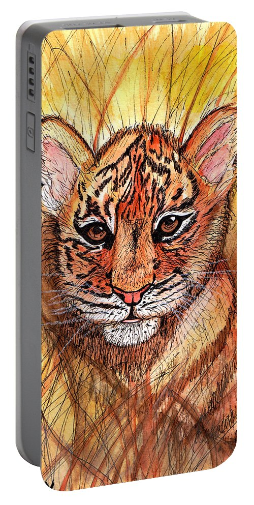 Tiger Portable Battery Charger featuring the painting Tiger Cub by Chris Crowley