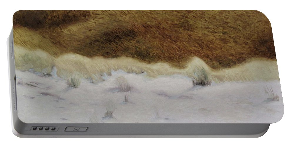Nida Portable Battery Charger featuring the painting Tiger Dune by Raimonda Jatkeviciute-Kasparaviciene