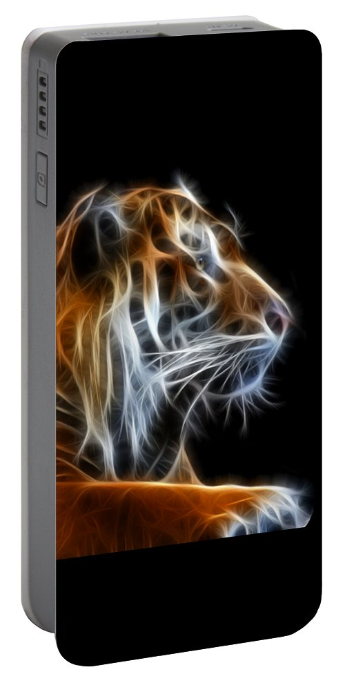 Tiger Portable Battery Charger featuring the photograph Tiger Fractal 2 by Shane Bechler