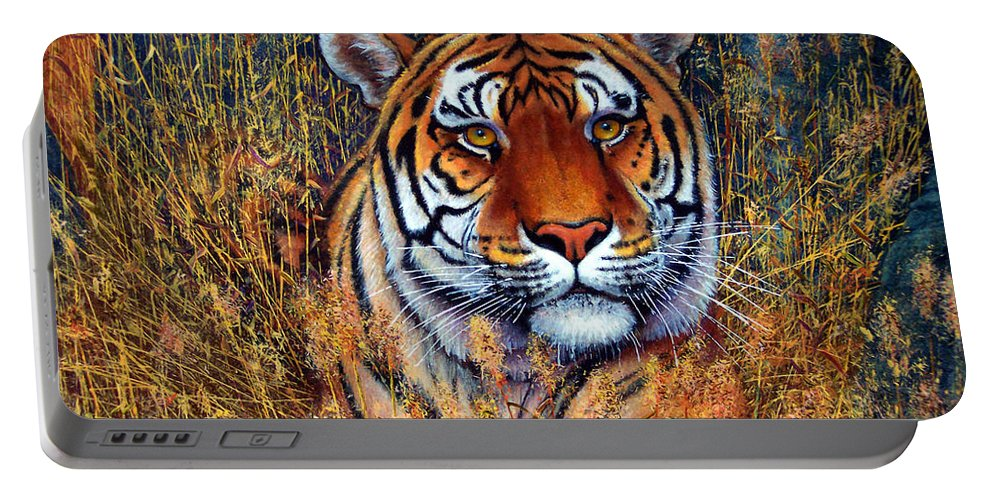 Tiger Portable Battery Charger featuring the painting Tiger by Frank Wilson