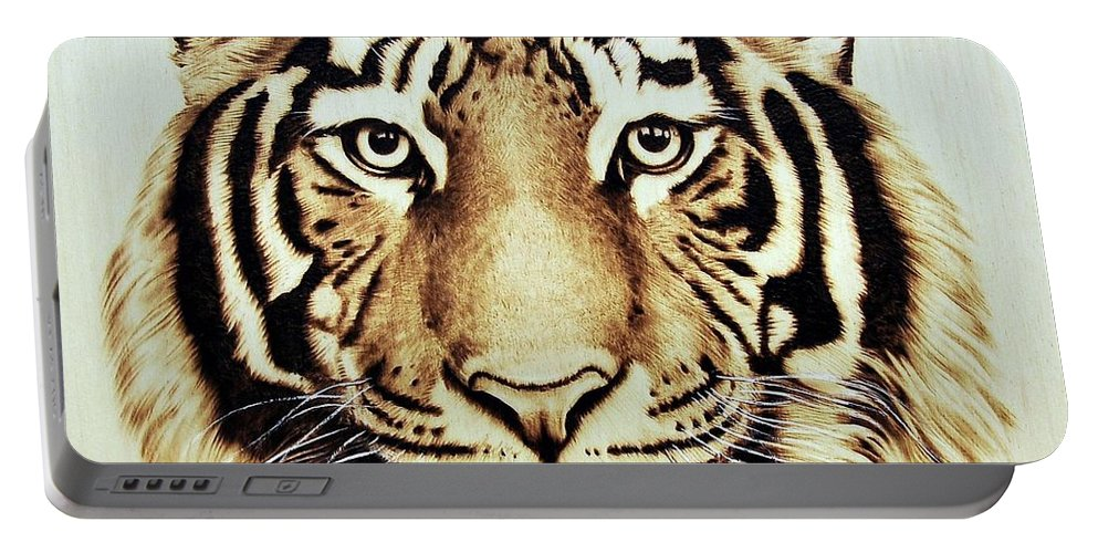 Tiger Portable Battery Charger featuring the pyrography Tiger by Ilaria Andreucci
