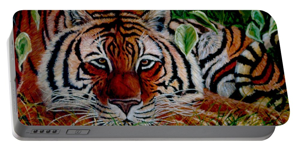Tiger Portable Battery Charger featuring the painting Tiger In Jungle by Nick Gustafson