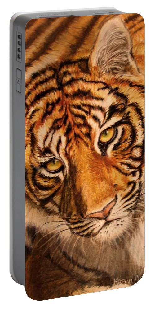 Tiger Portable Battery Charger featuring the drawing Tiger by Karen Ilari