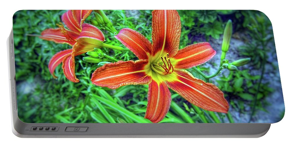 Flower Portable Battery Charger featuring the photograph Tiger Lilies by John Myers