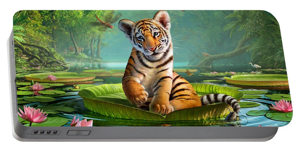 Tiger Portable Battery Charger featuring the digital art Tiger Lily by Jerry LoFaro