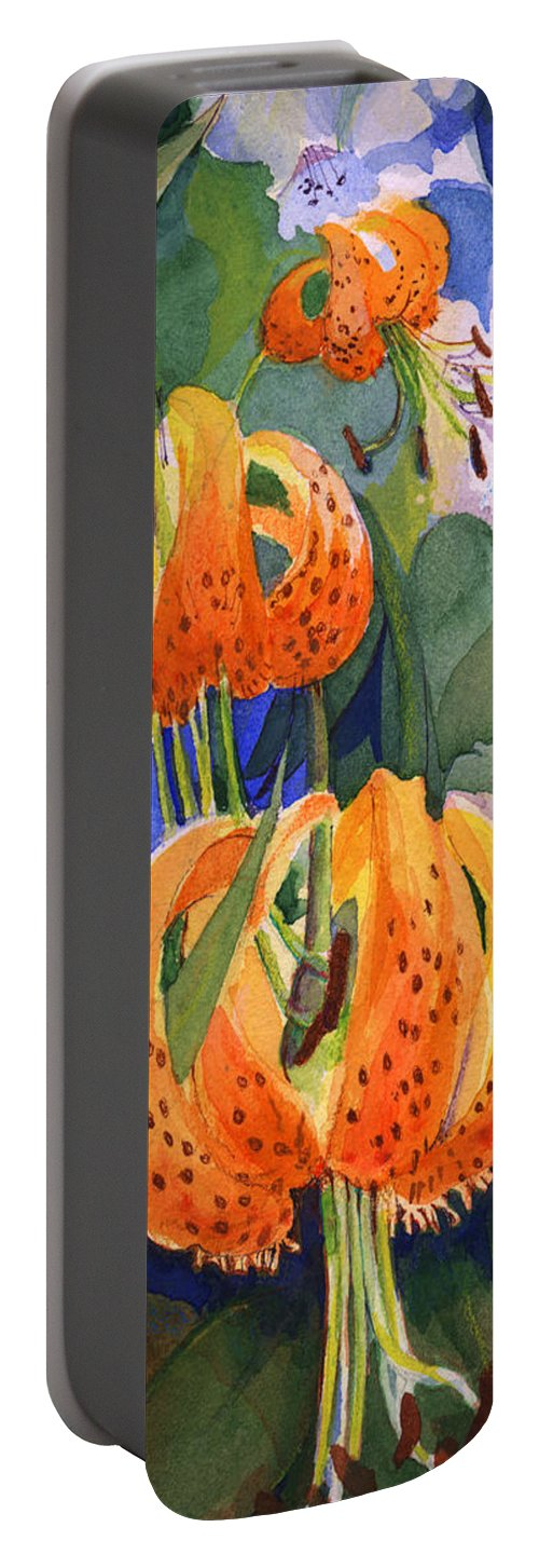 Flower Portable Battery Charger featuring the painting Tiger Lily Parachutes by Nancy Watson