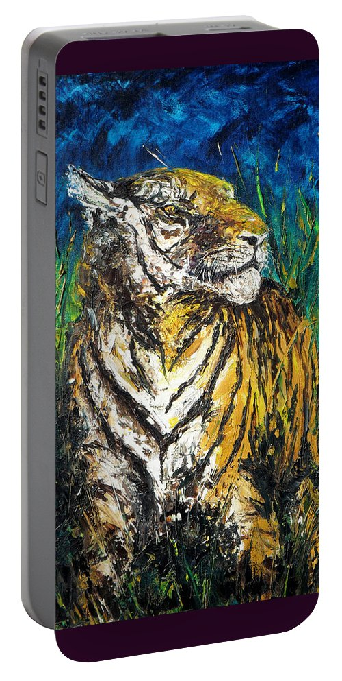 Tiger Portable Battery Charger featuring the painting Tiger Night Hunt by Shirley Heyn