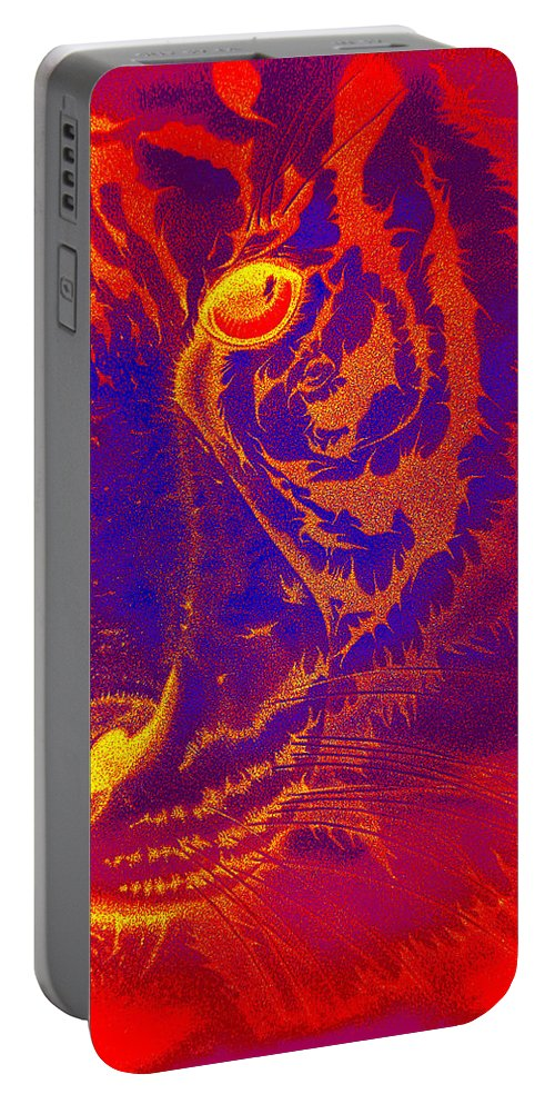 Tigers Digital Art Portable Battery Charger featuring the drawing Tiger On Fire by Mayhem Mediums