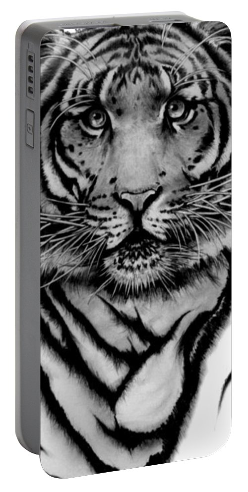 Tiger Portable Battery Charger featuring the drawing Tiger Tiger by Duke Windsor