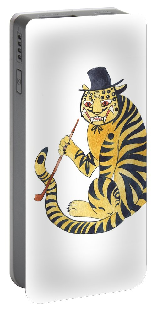 Tiger Portable Battery Charger featuring the painting Tiger With Pipe by Rag Aragno