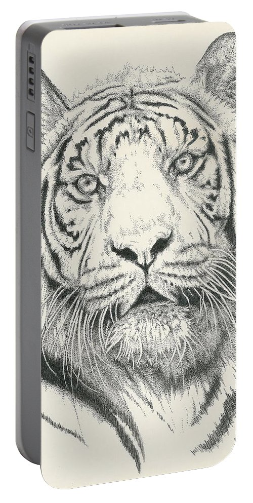 Tiger Portable Battery Charger featuring the drawing Tigerlily by Barbara Keith